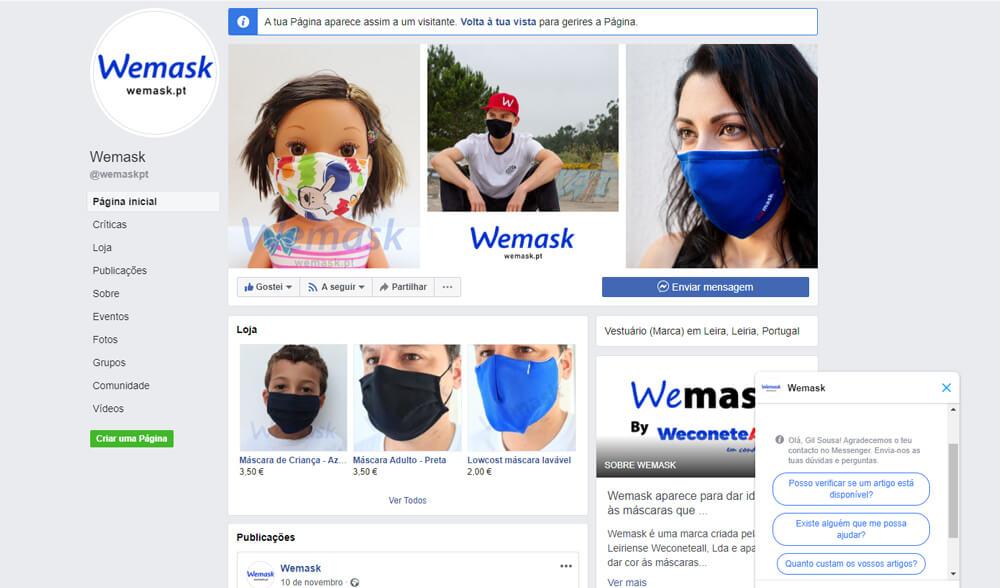 Gestão de página de Facebook